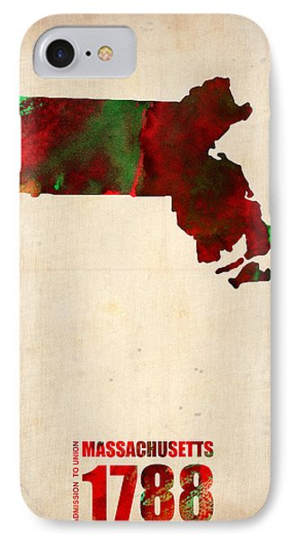 Massachusetts Watercolor Map IPhone Case by Naxart Studio