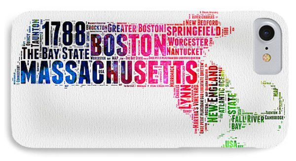 Massachusetts Watercolor Word Cloud Map  IPhone Case