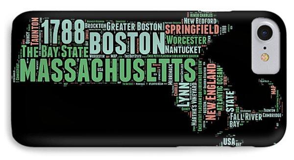 Massachusetts Word Cloud Map 1 IPhone Case