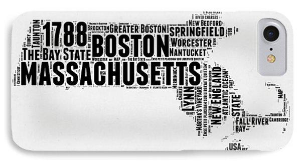 Massachusetts Word Cloud Map 2 IPhone Case