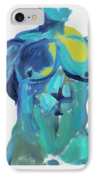 IPhone Case featuring the painting Massive Hunk Blue-green by Shungaboy X