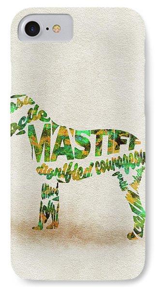 Mastiff Dog Watercolor Painting / Typographic Art IPhone Case