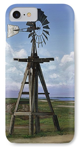 IPhone Case featuring the painting Matagorda Beach Windmill by Jimmie Bartlett