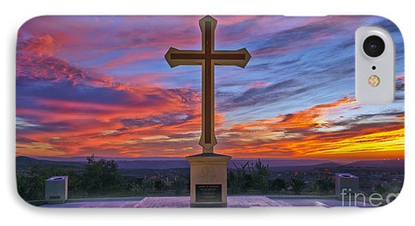 Christian Cross And Amazing Sunset IPhone Case by Sam Antonio Photography