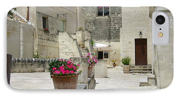 Matera With Flowers Phone Case by Italian Art