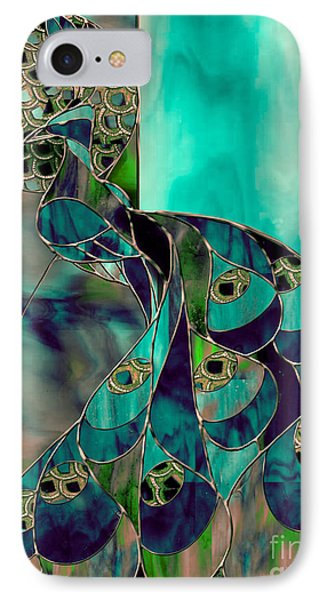 Mating Season Stained Glass Peacock IPhone Case by Mindy Sommers