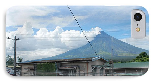 Mayon In-front Of My House Phone Case by Manuel Cadag