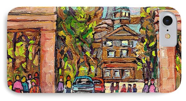Mcgill Gates  Entrance Of Mcgill University Montreal Quebec Original Oil Painting Carole Spandau IPhone Case by Carole Spandau