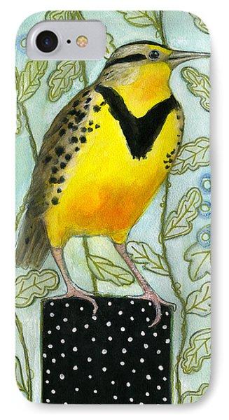 Meadowlark Black Dot Box IPhone 7 Case by Blenda Tyvoll