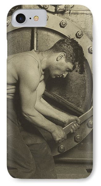 Mechanic And Steam Pump IPhone Case by Lewis Wickes Hine