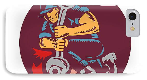 Mechanic Wrench Unscrewing Circle Woodcut IPhone Case