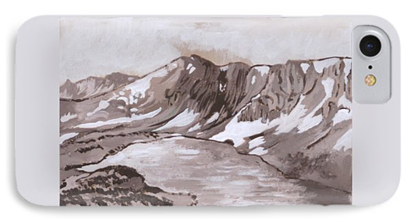 IPhone Case featuring the painting Medicine Bow Peak Historical Vignette by Dawn Senior-Trask
