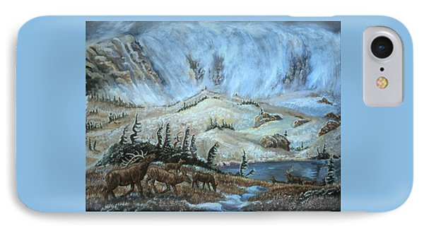 IPhone Case featuring the painting Medicine Bow Peak In Clouds With Elk by Dawn Senior-Trask