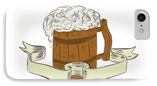 Medieval Beer Mug Foam Drawing IPhone Case by Aloysius Patrimonio