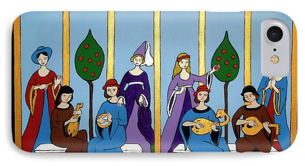 IPhone Case featuring the painting Medieval Musicians by Stephanie Moore