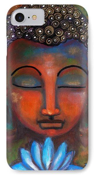 IPhone Case featuring the painting Meditating Buddha With A Blue Lotus by Prerna Poojara