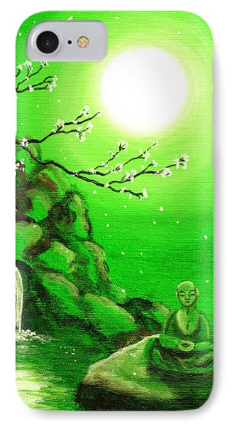 Meditating While Cherry Blossoms Fall In Green Phone Case by Laura Iverson