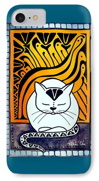 IPhone Case featuring the painting Meditation - Cat Art By Dora Hathazi Mendes by Dora Hathazi Mendes