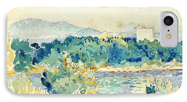 Mediterranean Landscape With A White House IPhone Case by Henri-Edmond Cross
