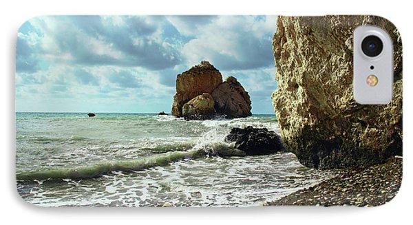 Mediterranean Sea, Pebbles, Large Stones, Sea Foam - The Legendary Birthplace Of Aphrodite IPhone Case