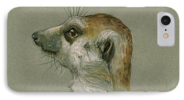 Meerkat iPhone 7 Case - Meerkat Or Suricate Painting by Juan  Bosco