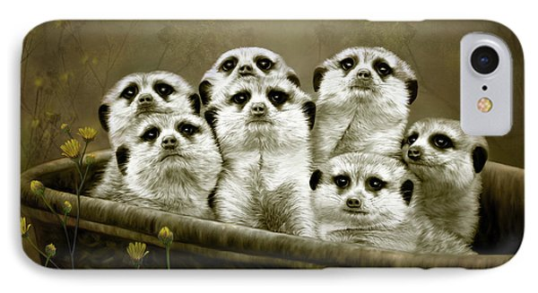 IPhone Case featuring the digital art Meerkats by Thanh Thuy Nguyen