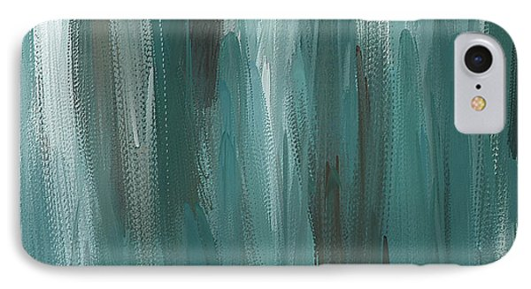 Meet Halfway - Teal And Gray Abstract Art IPhone Case by Lourry Legarde
