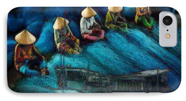 IPhone Case featuring the painting Mekong Weavers by Mojo Mendiola