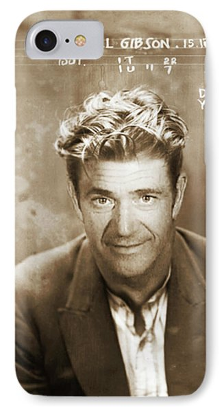 Mel Gibson Mug Shot Vertical Sepia IPhone Case by Tony Rubino