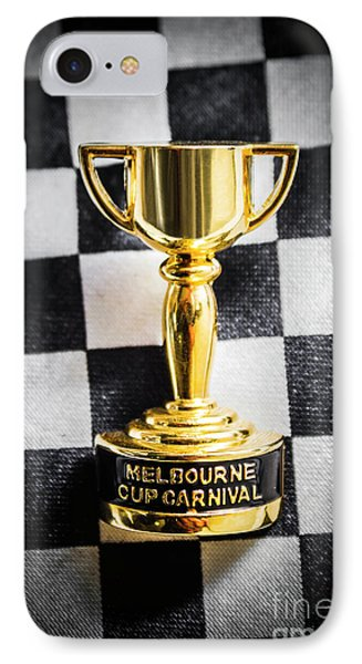 Melbourne Cup Pin On Mens Chequered Fashion Tie IPhone Case