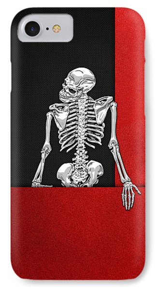 Memento Mori - Skeleton On Red And Black  IPhone Case