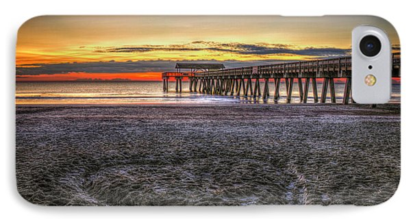 Memory In The Sand Tybee Island Pier Sunrise Art IPhone Case by Reid Callaway