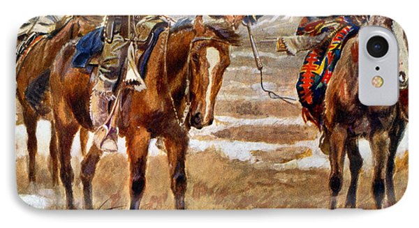 Men Shaking Hands On Horseback IPhone Case by Charles Marion Russell