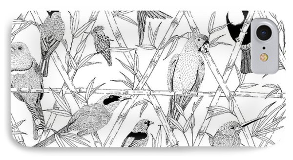 Menagerie Black And White IPhone 7 Case by Jacqueline Colley