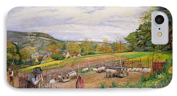 Mending The Sheep Pen IPhone Case by William Henry Millais