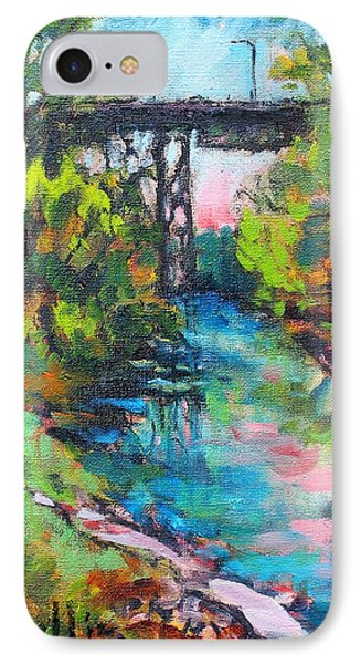IPhone Case featuring the painting Menominee Viaduct by Les Leffingwell