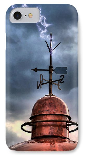 Menorca Copper Lighthouse Dome With Lightning Rod Under A Bluish And Stormy Sky And Lightning Effect IPhone Case by Pedro Cardona