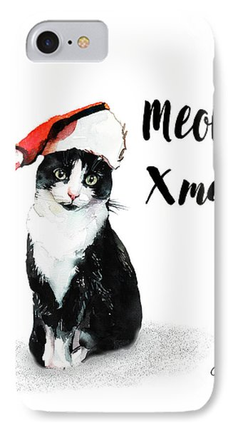 IPhone Case featuring the painting Meowy Xmas by Colleen Taylor