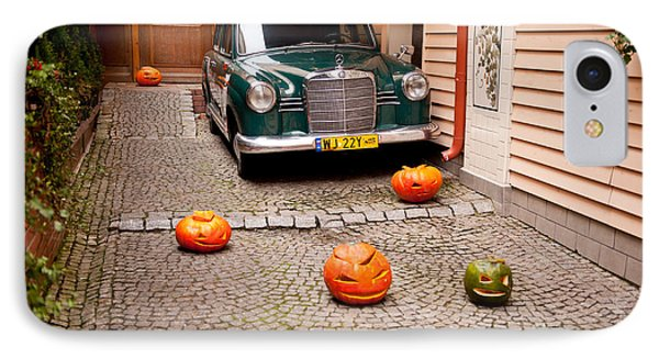 Mercedes Benz Car And Pumpkins IPhone Case by Arletta Cwalina