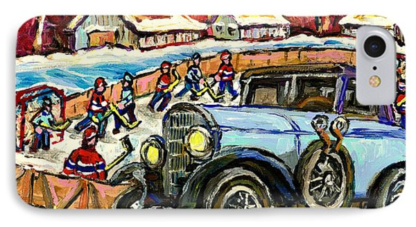Mercedes Benz Model K Canadian Winter Country Scene Art Outdoor Hockey Rink Painting Carole Spandau  IPhone Case