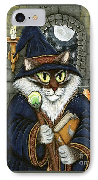 IPhone Case featuring the painting Merlin The Magician Cat by Carrie Hawks