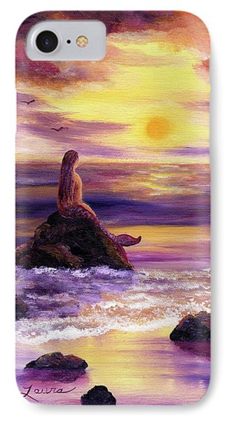 Mermaid In Purple Sunset Phone Case by Laura Iverson