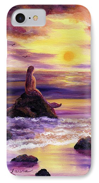 Mermaid In Purple Sunset IPhone Case by Laura Iverson
