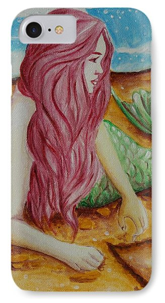 Mermaid On Sand With Heart Phone Case by Beryllium Canvas