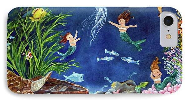 IPhone Case featuring the painting Mermaid Recess by Carol Sweetwood