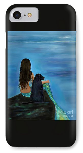 IPhone Case featuring the painting Mermaids Loyal Bud by Leslie Allen