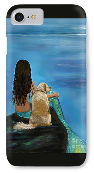 IPhone Case featuring the painting Mermaids Loyal Buddy by Leslie Allen