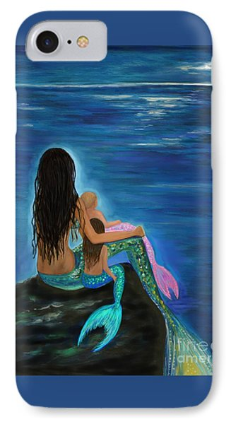 IPhone Case featuring the painting Mermaids Sweet Little Girls by Leslie Allen