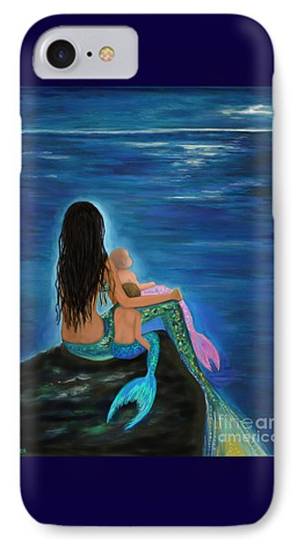 IPhone Case featuring the painting Mermaids Sweet Little Ones by Leslie Allen