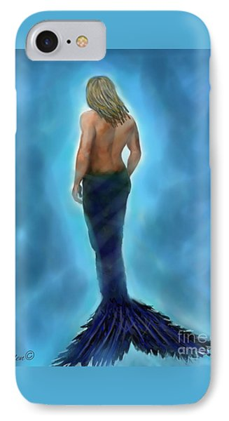 IPhone Case featuring the painting Merman Majestic by Leslie Allen